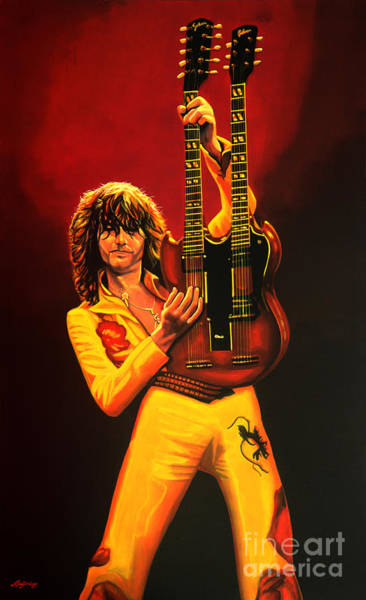 Page Wall Art - Painting - Jimmy Page Painting by Paul Meijering