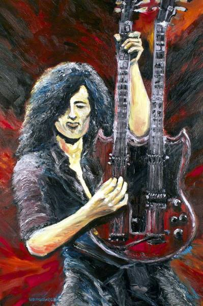 Rock And Roll Jimmy Page Wall Art - Painting - Jimmy Page The Song Remains The Same by Mike Underwood