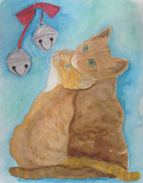 Wall Art - Painting - Jingle Bell Cats by Diann Parks