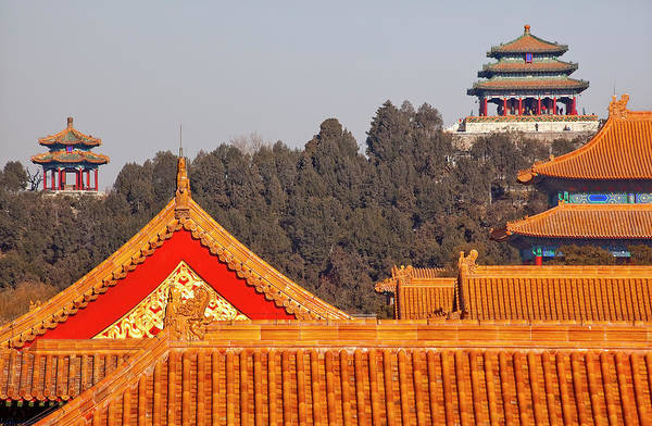 Forbidden City Photograph - Jinshang Park Pavilions From Forbidden by William Perry