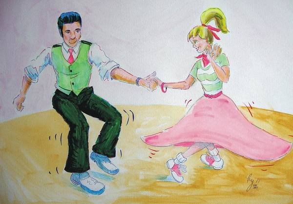 Drawing - Jive Dancing Cartoon by Mike Jory