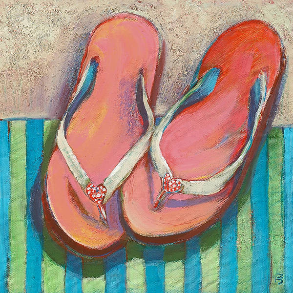 House Wall Art - Painting - Pink Flip Flops by Jen Norton