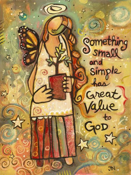 Gods Children Wall Art - Painting - Someting Small Inspirational Art by Jen Norton
