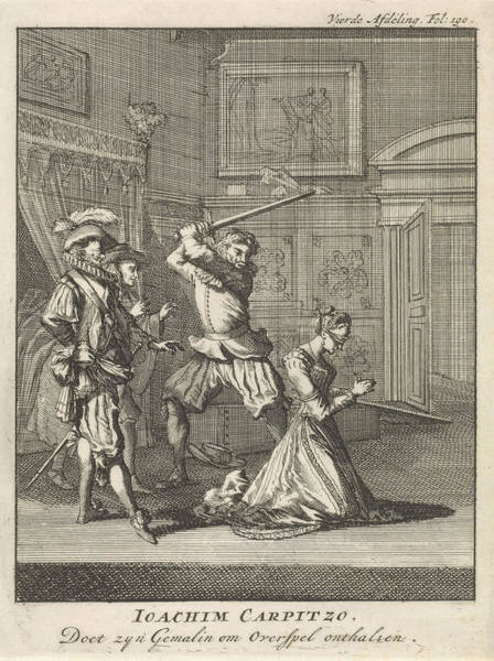 Infidelity Wall Art - Drawing - Joachim Von Carpzov Orders His Wifes Beheading by Jan Luyken