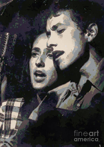 Wall Art - Digital Art - Joan Baez And Bob Dylan by Paulette B Wright