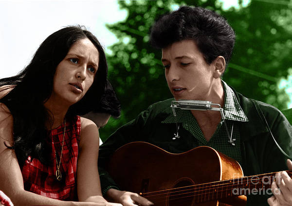 Photograph - Joan Baez With Bob Dylan by Celestial Images