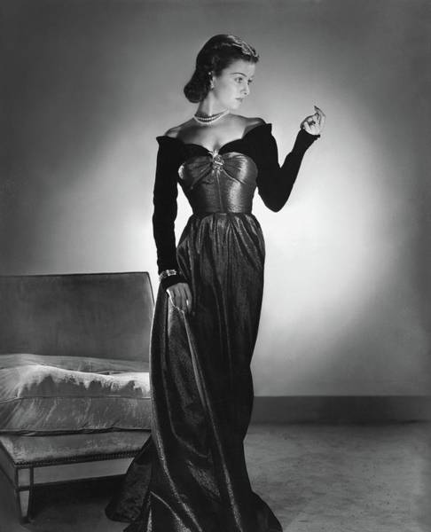 Celebrities Photograph - Joan Bennett Wearing A Velvet Dress by Horst P. Horst