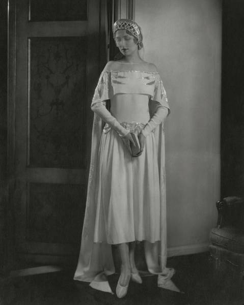 Headdress Photograph - Joan Clement Wearing A Lanvin Wedding Dress by Edward Steichen