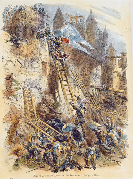 Ladders Photograph - Joan Of Arc At The Assault Of The Tournelles Colour Litho by English School
