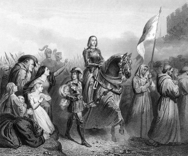 Wall Art - Drawing - Joan Of Arc Enters Orleans,with Train by Mary Evans Picture Library
