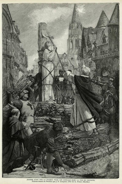 Wall Art - Drawing - Joan Of Arc   She Kisses The Cross by Mary Evans Picture Library