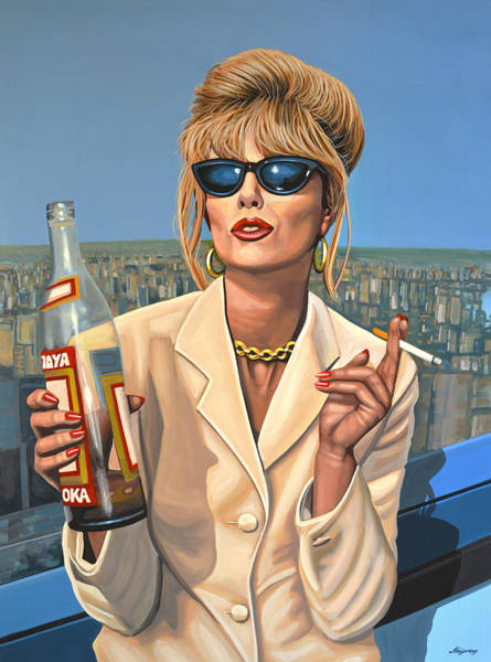 Stone Wall Art - Painting - Joanna Lumley As Patsy Stone by Paul Meijering
