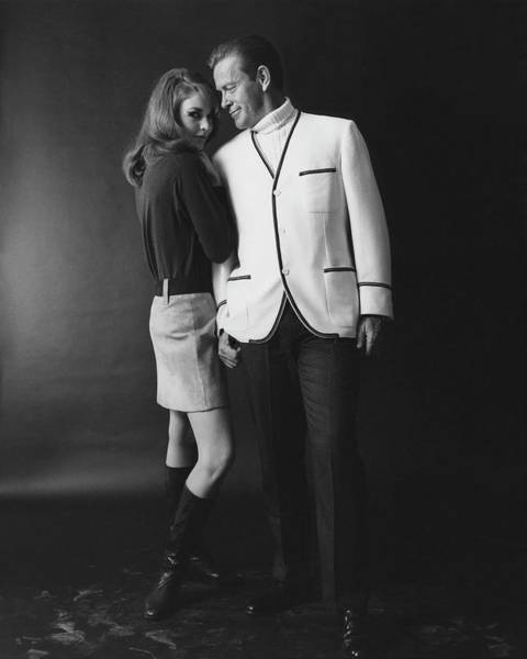 Designer Clothing Photograph - Joanna Pettet Posing With A Male Model by Leonard Nones