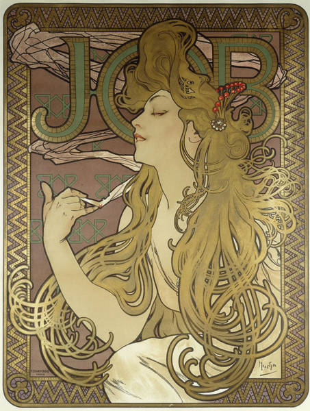 Paper Dress Photograph - Job, 1896 Colour Lithograph On Poster Paper, Framed by Alphonse Marie Mucha
