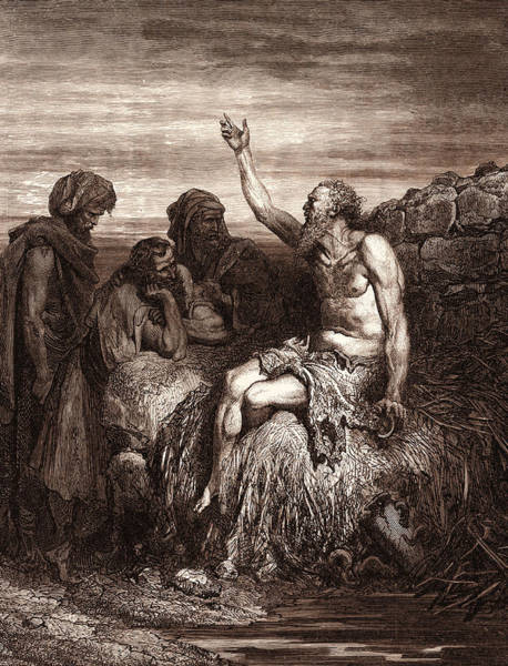 Dor Drawing - Job And His Friends, By Gustave DorÉ. Gustave Dore by Litz Collection