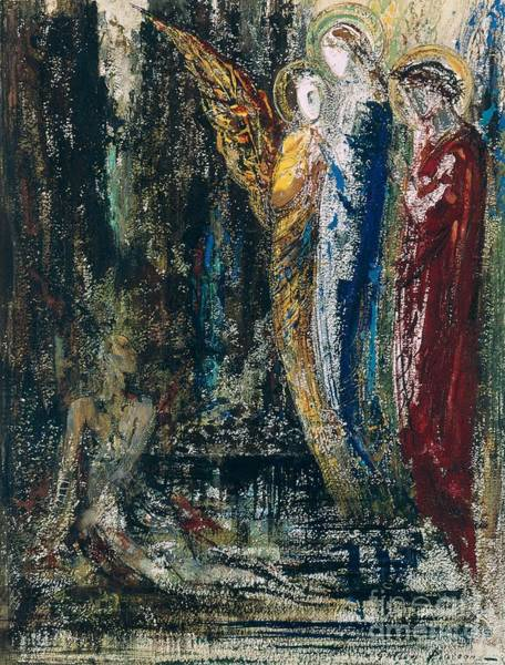 3 Painting - Job And The Angels by Gustave Moreau