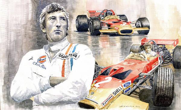 Wall Art - Painting - Jochen Rindt Golden Leaf Team Lotus Lotus 49b Lotus 49c by Yuriy Shevchuk