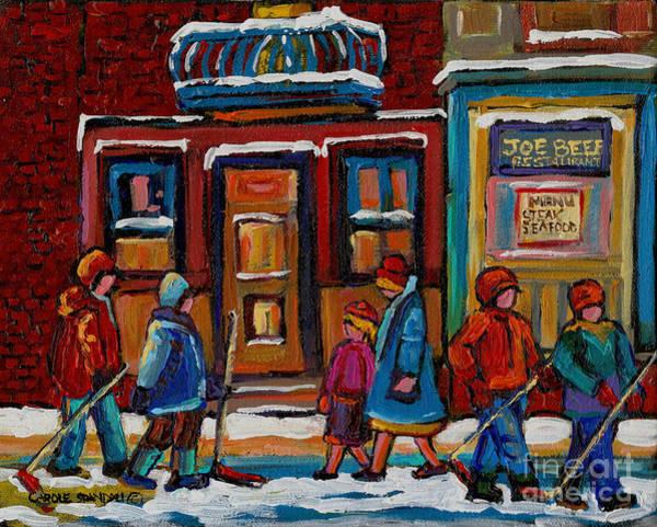 Painting - Joe Beef Restaurant And Boys With Hockey Sticks by Carole Spandau
