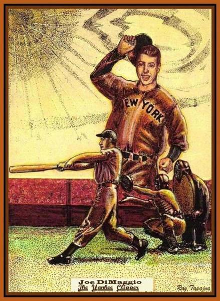 Drawing - Joe Dimaggio Yankee Clipper by Ray Tapajna