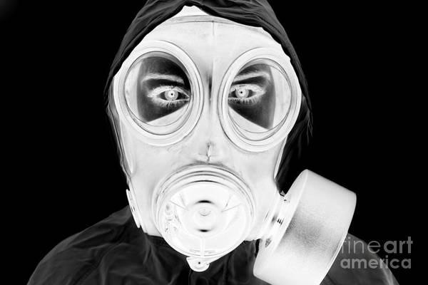Gasmask Photograph - Joe Fox Fine Art - Black And White Negative Representation Of Woman Wearing Gas Mask And Protective Clothing by Joe Fox