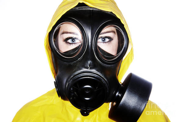 Cosplay Photograph - Joe Fox Fine Art - Woman Wearing Gas Mask And Protective Clothing by Joe Fox