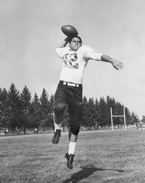 Football Photograph - Joe Francis Throwing Football by Underwood Archives