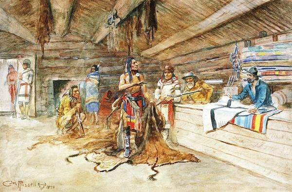 Indian Brave Digital Art - Joe Kipps Trading Camp by Charles Russell