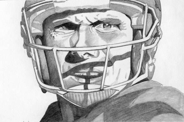 Super Bowl Drawing - Joe Montana by Brian Condron