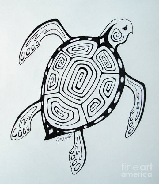 Tattoo Drawing Drawing - Joey's Sea Turtle by Joey Nash