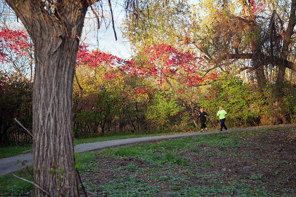 Workout Photograph - Joggers In Parkland In Autumn by Jim West