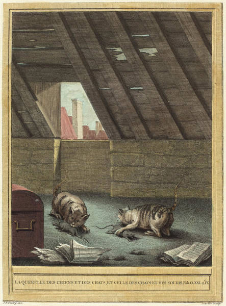 Chien Drawing - Johann Christoph Teucher After Jean-baptiste Oudry German by Quint Lox