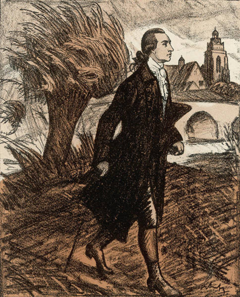 Wall Art - Drawing - Johann Wolfgang Von Goethe  Depicted by Mary Evans Picture Library