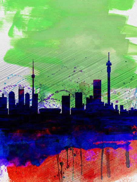 Wall Art - Painting - Johannesburg Watercolor Skyline by Naxart Studio
