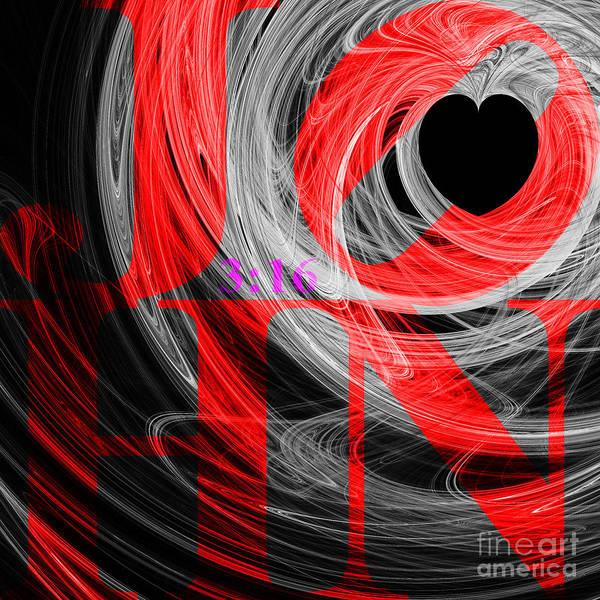 Digital Art - John 3 16 20130708 Fractal Heart V2b by Wingsdomain Art and Photography