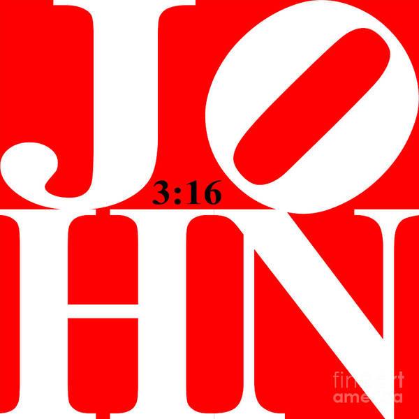 Digital Art - John 3 16 20130708 White Red Black by Wingsdomain Art and Photography