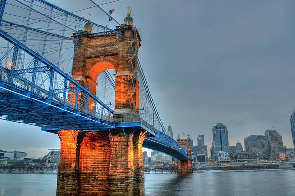 Photograph - John A Roebling Suspension Bridge Cincinnati Ohio by Jeremy Lankford