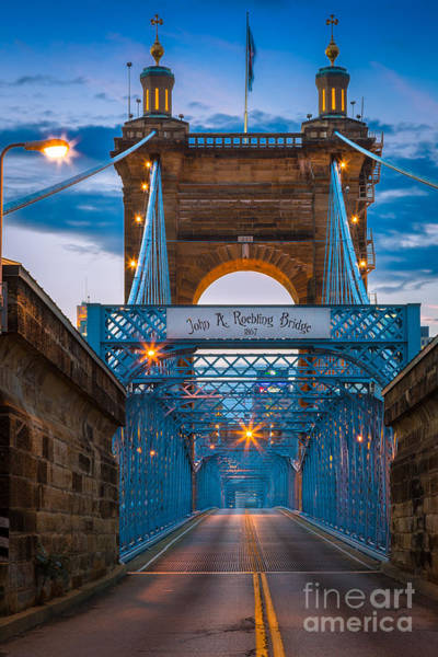 Ohio River Photograph - John A. Roebling Suspension Bridge by Inge Johnsson