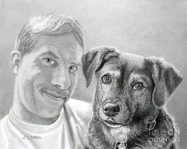 Pet Portrait Drawing - John And Howie by Sarah Batalka