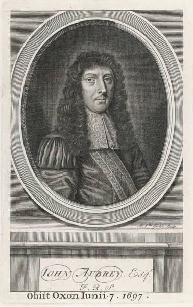 Aubrey Drawing - John Aubrey  Writer And Antiquary (oval by Mary Evans Picture Library