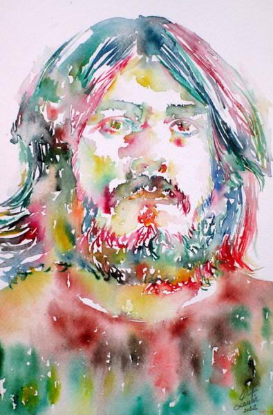 Led Zeppelin Painting - John Bonham Watercolor Portrait by Fabrizio Cassetta