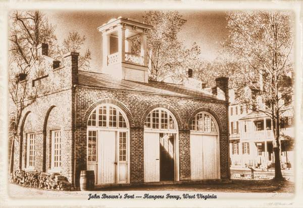 Wall Art - Photograph - John Browns Fort - Harpers Ferry West Virginia - Modern Day Sepia by Michael Mazaika