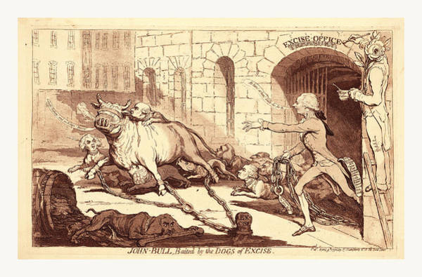 Duty Drawing - John Bull, Baited By The Dogs Of Excise, En Sanguine by English School