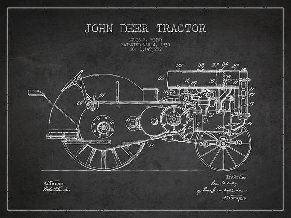 Old Tractor Digital Art - John Deer Tractor Patent Drawing From 1930 - Dark by Aged Pixel