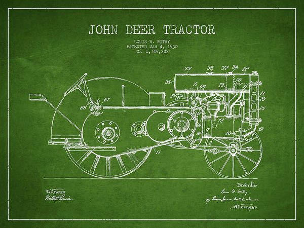 Farming Digital Art - John Deer Tractor Patent Drawing From 1930 - Green by Aged Pixel