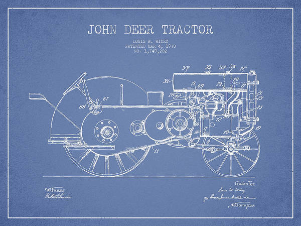Old Tractor Digital Art - John Deer Tractor Patent Drawing From 1930 - Light Blue by Aged Pixel