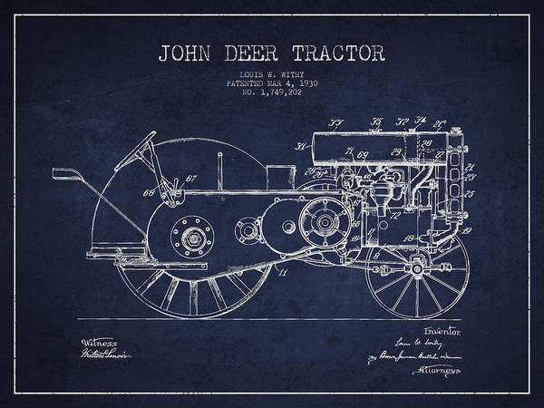 Old Tractor Digital Art - John Deer Tractor Patent Drawing From 1930 - Navy Blue by Aged Pixel