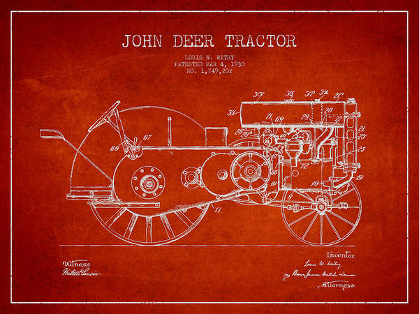 Old Tractor Digital Art - John Deer Tractor Patent Drawing From 1930 - Red by Aged Pixel