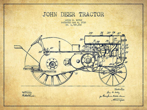 Farming Digital Art - John Deer Tractor Patent Drawing From 1930 - Vintage by Aged Pixel