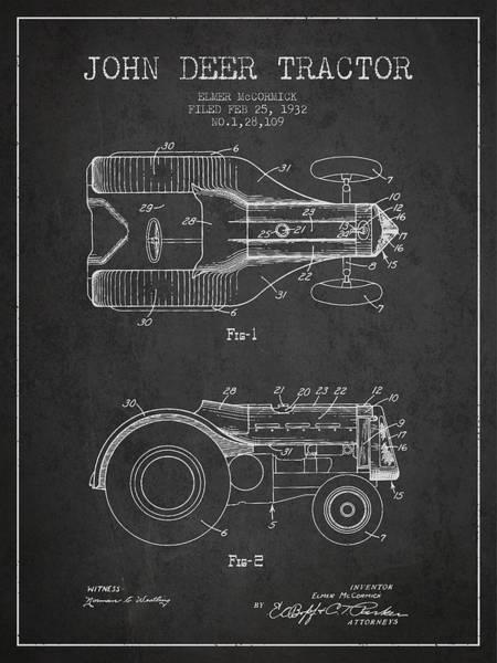 Farming Digital Art - John Deer Tractor Patent Drawing From 1932 - Dark by Aged Pixel