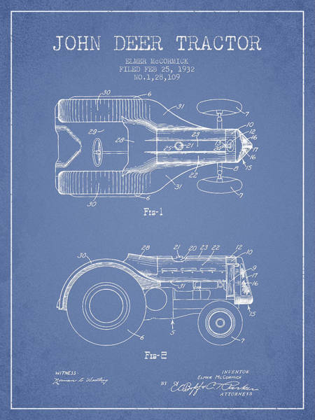 Old Tractor Digital Art - John Deer Tractor Patent Drawing From 1932 - Light Blue by Aged Pixel